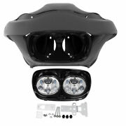Outer Fairing + 5.75and039and039 Dual Led Headlight Fit For Harley Road Glide Fltr 98-13
