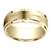 18k Yellow Gold 8.00 Mm Comfort-fit Menand039s Engagement And Wedding Band Ring Sz-13