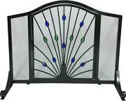 Dagan Wrought Iron Arched Fireplace Screen With Door With Peacock Design, 44 X