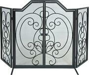 Dagan Three Fold Center Arched Scroll Design Black Wrought Iron Screen With Door