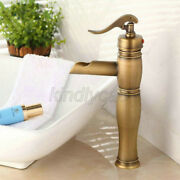 Antique Brass Waterfall Spout Bathroom Vanity Faucet Basin Mixer Tap
