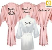 Robes For Bride Bridesmaid White Black Letter Mother Sister Of The Bride Wedding