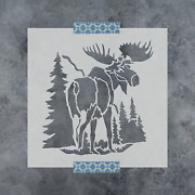 Moose In The Woods Stencil - Durable And Reusable Mylar Stencils