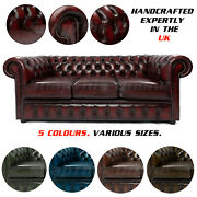Chesterfield Real Leather Sofa Luxury Oxford 2 3 4 Seater Set Uk Antique Green