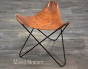 Jorge Ferrari-hardoy Brown Leather And Iron Mid Century Butterfly Stool