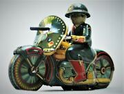 Vintage Tin Friction Military Police Motorcycle Toy - Japan