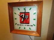 Vintage 7-up Clock Lighted Up Advertising Clock You Like It...it Likes You