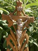 Antique Black Forest Hand Carved Wood Table Crucifix Cross Christ Memento Mori