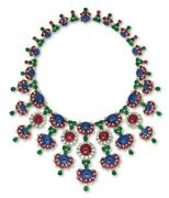 Blue Sapphire 925 Sterling Silver Tutti Frutti Necklace Highend Party Cocktail