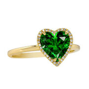 Emerald And Real Diamond Halo Heart Wedding Engagement Ring 14k Yellow Gold