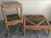Handcarved Solid Maple Wood White Washed Coffee Table And 2 End Tables W Glass