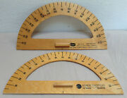 Wood Protractor Vintage Lot - Ideal School Supply Usa And Weber Costello Canada