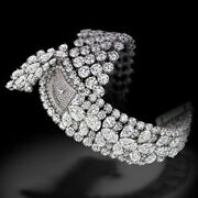 925 Sterling Silver Womenand039s Wrist Watch Simulated Diamond Faceless Studded Party