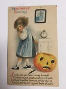 Halloween Postcardclapsaddle Series 31 Wold And Co Girl With Jack-o-lanternpc12
