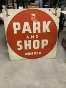 """Vintage Rare Red Owl Grocery Stores Double Sided Metal Parking Sign 36"""" X 36"""""""