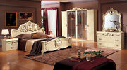 Esf Barocco Ivory On Ivory Finish Queen Size Bedroom Set 6 Pieces Made In Italy