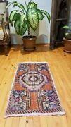 Primitive Antique 1900-1930and039swool Pile 1and0397 X 3and039 Muted Dye Tribal Rug