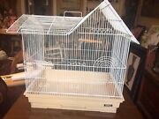 Vintage Large White Hoei Bird Cage Made In Japan Detailed House Style Handled