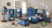 Twin Bed, Blue/red And Black Train - Metal, Mdf, Pvc, 25kg Fr Blue/red And Black ...