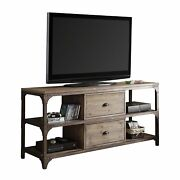 Tv Stand Weathered Oak And Antique Silver - Pine Veneer Mdf Iron Fr Weathere...
