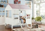 Cottage Full Bed White And Pink - New Zealand Pine Wood Md White And Pink