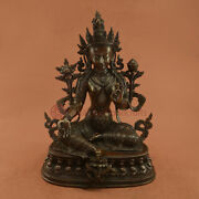 Hand Made Oxidized Copper Alloy Green Tara / Dolma Statue From Patannepal.