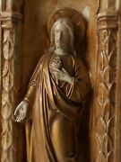 Beautiful Antique French Religious Large Chapel Wall Panel 3d Jesus Christ