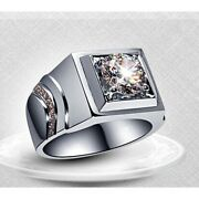 2 Ct Round Simulated Engagement Men Ring In 925 Sterling Silver Size 9