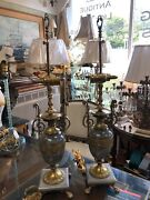 Pair Of Handsome Marble And Brass Urn Table Lamps