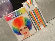 Clown Costume Accessories Wig And Suspenders 2pcs Multicolored New In Package