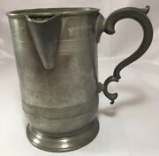 19th Century James Yates Pewter Quart Tankard Pitcher With Side Spout A2