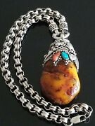Vtg Big Amber/opal/turquise Pendant Sterling Silver Chunky Rolo Chain Necklace