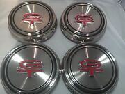 Set/4 Polished Stainless Steel Hubcaps Center Caps For 1967-68 Mustang Torino