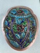 Antique Chinese Export Silver Blue Enamel Snuff Box Compact 3 1/2andrdquo Scarab Shape