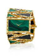 925 Sterling Silver Wrist Watch Women Rectangle White Green Abstract Cocktail