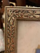 """Rare Antique Silver Leaf Arts Crafts Carved Picture Frame Only 24"""" X 19"""" Opening"""