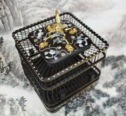 Chinese Bird Cage Ebony Wood Pet Nest Home Shell Inlay Craft High End