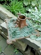 Original German Antique Cast Iron Christmas Tree Stand Forest Ground Style
