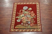 5x6 Tapestry Flower Vase Made In Belgium 1970and039s Wall Hanging Floral Design