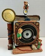Euc White Christmas Music Box Teddy Bears Spin On Old-fashioned Camera