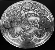 Antique Hand Engraved Persian Islamic Arabic Solid Silver Round Box 945 Gram