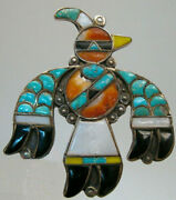 Best Zuni Early Inlaid Thunderbird Knifewing Bird Pin Channel And Mosaic Inlay