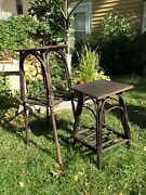 Pair Rustic Painted Primitive Twig Stick Tables Plant Stands Arts And Craft Era