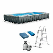 Intex 32and039 X 16and039 X 52 Ultra Xtr Frame Swimming Pool W/ Sand Filter Used