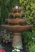 53 Tranquility Spill Fountain With Birds - Outdoor Concrete Garden Water