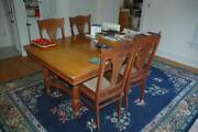 Antique Vintage Tiger Oak Dining Room Set Table And Lyre Back Chairs