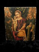 Catholic Antique Italian Holy Icon Madonna Enthroned With St. Francis And Dominic