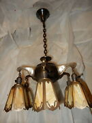 6-light Art Nouveau Arts And Crafts Brass Chandelier W Reticulated Slag Glass Pane