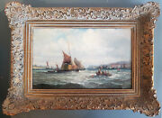 William Thornley 1857-1935antique Oil Hay Barges Sailing In The Medway Estuary