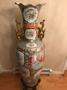 Extra Large Vintage Famille Rose Chinese Porcelain Floor Vase 52.5andrdquo Wooden Stand